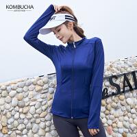 【女神特惠价】Kombucha运动健身外套女士性感网纱拼接修身显瘦拉链开衫无帽外套JCWT527