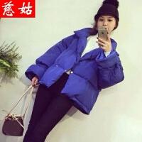 慈姑2017秋冬装新款韩版时尚可爱喇叭袖立领减龄短外套女学生棉衣 均码