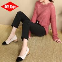 Lee Cooper新款牛仔裤女九分裤小个子宽松毛边纯色文艺牛仔裤女