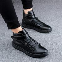 DAZED CONFUSED 潮牌小白鞋中高帮男鞋韩版马丁靴厚底休闲鞋潮流短靴内增高皮鞋