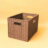 衣柜整理箱衣物玩具编织筐简约草编收纳盒大号储物箱无盖编制篮
