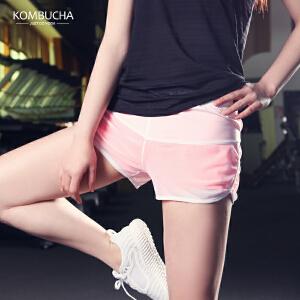 【限时特惠】KOMBUCHA瑜伽短裤2018新款女士速干透气假两件防走光短裤健身跑步运动热裤K0251