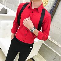 新款加小码纯色打底衬衫青少年男士瘦小个子夜店修身长袖发型师S