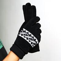 耐磨骑行加绒皮手套男保暖骑车防滑男士滑雪加厚户外棉手套 黑色(买21) 均码