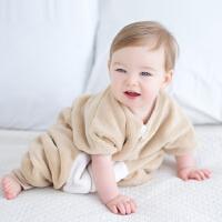 davebella秋季男女宝宝新生婴儿珊瑚绒分脚防踢睡袋