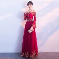 一字肩敬酒服新娘长款2018新款秋季中式晚礼服红色显瘦结婚回门服