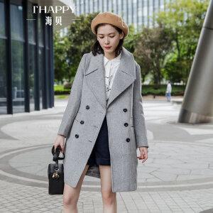海贝2017冬装新款女装 西装领长袖双排扣修身中长款毛呢大衣外套