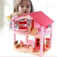木制大房子模型diy小屋女孩过家家玩具公主屋仿真粉色儿童娃娃屋