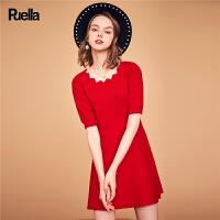 针织连衣裙秋装新款法式复古高腰显瘦chic五分袖A字短裙女士