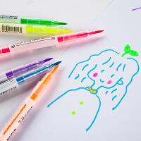荧光笔双头记号笔学生成人用彩色笔重点划线标记笔斜头创意文具
