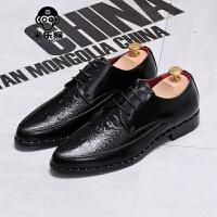 米乐猴 潮牌韩版男士尖头鳄鱼纹休闲鞋发型师内增高皮鞋男潮鞋亮面漆皮婚鞋男