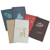 伊和诺创意商务礼品圣诞贺卡卡片镂花雕刻复古晶钻剪纸圣诞卡1801