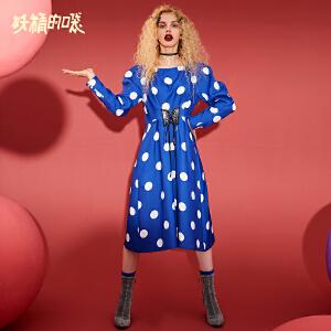 【低至1折起】妖精的口袋Y气质波点长袖连衣裙女秋装2018新款复古通勤中长裙子