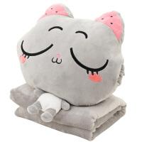 猫咪三合一抱枕公仔毯子冬季可插手暖手抱枕女生可爱毛绒手捂