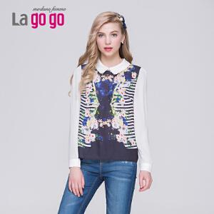【每满200减100】Lagogo/拉谷谷2015夏季新款POLO领印花时尚修身T恤