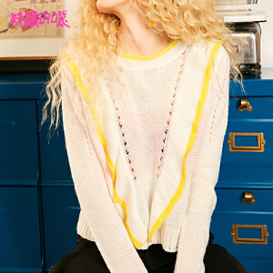 【尾品汇大促】妖精的口袋短款通勤上衣秋装2018新款优雅低圆领打底针织衫女