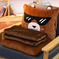 暖手抱枕插手毛绒玩具送女生可爱抱枕被子两用毯子手捂