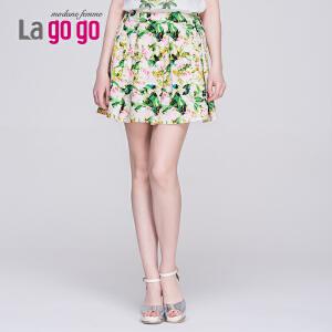 【每满200减100】Lagogo/拉谷谷2015夏季新款包臀印花半身裙