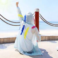 防晒衣女士夏装新款轻薄连帽中长款沙滩防晒服长袖户外外套空调衫 L 建议110/120斤