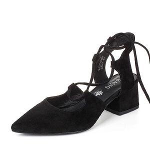 【鞋靴超级品类日】BASTO/百思图2017夏季羊绒皮优雅尖头粗高跟绑带女凉鞋P3606BL7