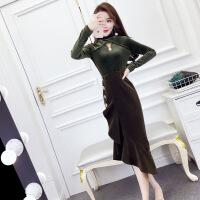 套装女秋2018新款韩版时尚气质高领长袖丝绒上衣+荷叶边半身裙潮 墨绿色