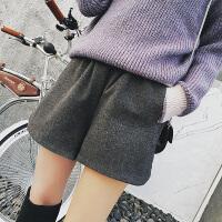 高腰毛呢短裤女士2018春装新款外穿大码胖mm百搭打底休闲阔腿靴裤