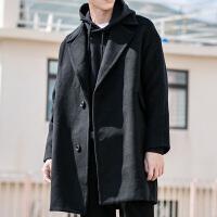 日系韩版宽松秋冬中长款厚料羊毛呢大衣翻领男款双面呢黑