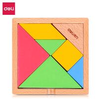 得力(deli) 74304 木质儿童经典七巧板早教益智玩具创艺几何认知智力拼图 当当自营