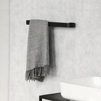 免打孔毛巾架太空铝卫生间架黑色浴巾架卫浴五金浴室挂件