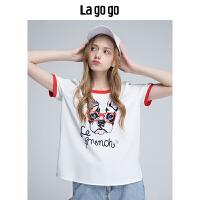 【5折价93.5】Lagogo/拉谷谷2018年夏季新款时尚白色圆领图案印花短袖T恤女HASS315F15