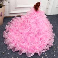 家居摆件芭比娃娃婚纱纯手工创意摆设生日礼物儿童房间可爱摆件