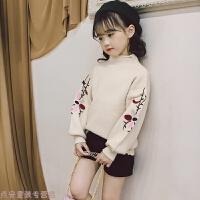 冬季女童毛衣秋装2018新款韩版洋气儿童女套头针织上衣女孩打底衫潮衣秋冬新款
