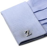 英文字母银色袖扣法式袖扣 男士袖钉衬衫扣子 现货生日礼物实用