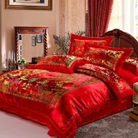 婚庆床品 龙凤百子图四件套 大红色丝绸缎结婚被套家纺床上用品 风景百子 大红