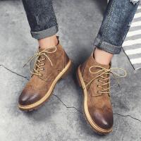 男靴2017英伦风系带马丁靴户外休闲皮靴中帮冬季棉鞋