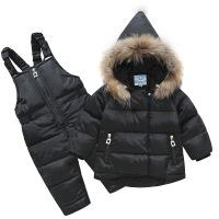 儿童羽绒服套装两件套女童宝宝男童貉子毛领1-3岁宝宝婴幼儿冬装