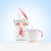 儿童水壶 宝宝学饮杯 透透杯婴儿吸管水杯套装