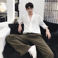 深V领男士中袖衬衫夏季纯色半袖衬衣ins火的上衣韩版宽松发型师