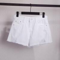 白色牛仔短裤女夏装2018新款宽松百搭阔腿毛边a字ins超火的裤子女 白色
