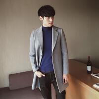 秋冬男士毛呢大衣韩版修身青年中长款风衣潮流男装纯色呢子外套