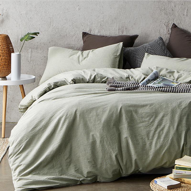 网易严选  日式水洗棉条纹四件套 床笠款纯棉水洗感,柔软吸汗
