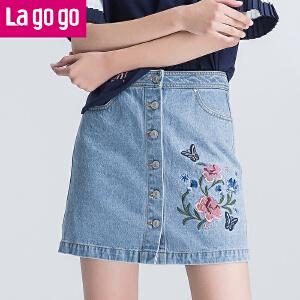 Lagogo2017夏季新款刺绣印花高腰百搭牛仔裙女短款A字裙半裙裙子