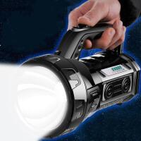 强光手电筒 充电LED强光手电筒探照灯亮特种兵户外远程多功能手提家用手电打猎应急巡逻大灯 黑色 30W