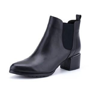 星期六(ST&SAT)冬季专柜同款牛皮革尖头粗跟女短靴SS74116323