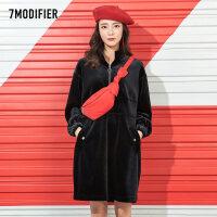 【2折到手价119元】拉夏贝尔7m新款韩版黑色宽松拉链中长收腰显瘦休闲连衣裙女拉链设计口袋收腰显瘦