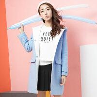 纯色连帽毛呢大衣女2017冬季新款韩版休闲甜美中长款修身呢子外套