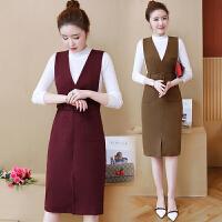 时髦套装小香风背带裙秋冬款女韩版两件套连衣裙减龄收腰显瘦