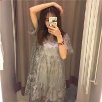 208夏季女装韩版新款中长款吊带裙+蕾丝裙短袖连衣裙两件套裙子 均码