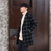 青少年中长款风衣男格子时尚外套秋冬装潮流韩版修身男士毛呢大衣
