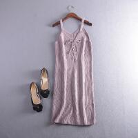 【满】L212018秋冬季韩版新款纯色无袖吊带针织连衣裙潮Z